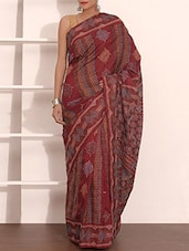 Maroon Embroidered Pure Silk Saree - By