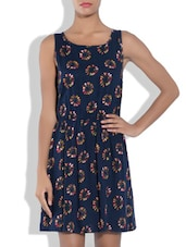 Navy Blue Rayon Printed Dress - By