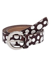 Brown And White Faux Leather Polka Dots Belt - By