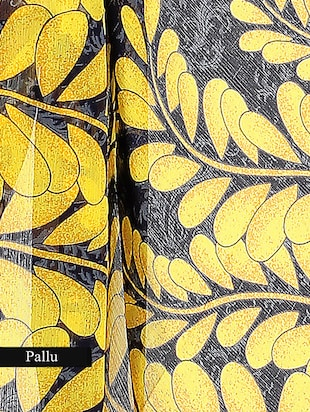 yellow and black chiffon printed saree with blouse - 9547156 - Standard Image - 3
