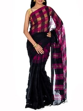 Black Yarn Dyed Striped Tant Cotton Saree - By