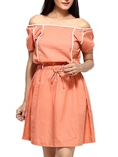 Pink Cotton  Short Sleeves Blouson Dress - By