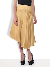 Gold Asymmetrical Silk Dress With Bow - By