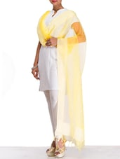 Solid Yellow Net Dupatta - By