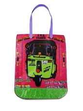 Hot Pink Printed Tote Bag - By