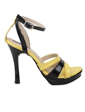 Yellow And Black Faux Leather Stilettos Sandals - By
