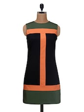 Green Cotton And Satin Solid Regular Fit Shift Dress - By