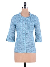 Blue Printed Cotton Shirt With Pin Tuck Detail - By