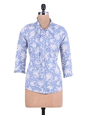 Blue Floral Printed Cotton Shirt With Pin Tuck Detail - By
