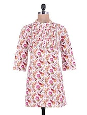 Floral Printed White And Pink Cotton Short Kurta - By