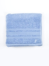 Blue Cotton Striped Bordered Face Towel - By