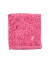 Pink Cotton Striped Bordered Face Towel - By