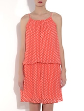 Pink Polyester Polka Dots Sleeveless Blouson Dress - By