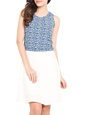 Blue And White Printed Dress - By
