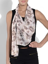 Pink Polyester Floral Printed Scarf - By