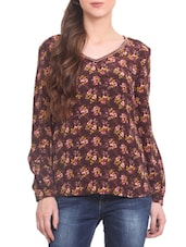 Brown Polyester Printed Long Sleeved Top - By