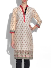 Beige Printed Quarter Sleeved Cotton Kurta - By