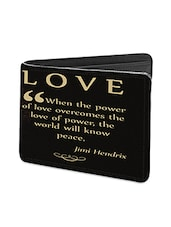 Black Leather Love Quote With Guitar Leather Wallet - By