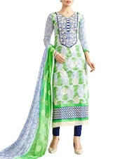 Off-White & Blue Chanderi Semi-Stitched Salwar Suit Set - By