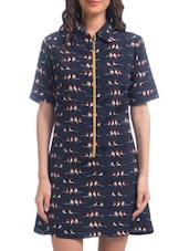 Blue Polyester Printed Short Sleeved A-Line Dress - By