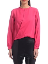 Pink Polyester Solids Long Sleeved Top - By