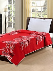 Red Polyester Printed Bedsheet With 1 Pillow Cover - By