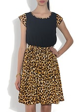 Multi-coloured Polyester Animal Printed Cap Sleeves Gathered Dress - By