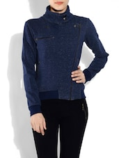 Solid Navy Blue Cotton Jacket - By