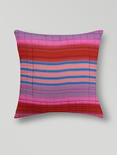 Set Of 2 Multicolored Striped Cotton Cushion Covers - By