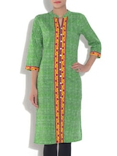 Green Cambric Kurta With Yarn Dyed Checks - By
