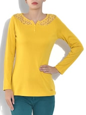 Gold Cotton Fleece Full Sleeve Top - By