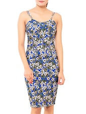 Blue Floral Printed Viscose Knit Dress - By