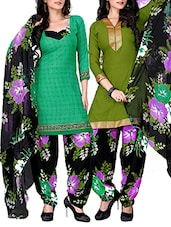 Mehndi Green And Teal Green Printed Suit Set - By