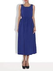 Navy Blue Polygeorgette Maxi Dress - By
