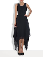 Solid Black Polygeorgette Asymmetrical Maxi Dress - By