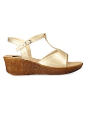 Dusty Gold Leather Wedges - By