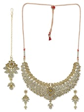 White And Gold Embellished Jewellery Set - By