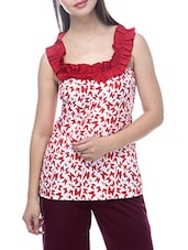 Red Poly Crepe Sleeveless Top - By