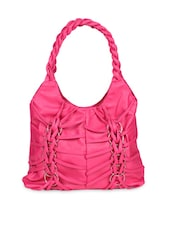 Pink Faux Leather Shoulder Bag - By