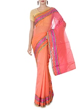 Peach Embellished Art Silk And Zari Saree - By