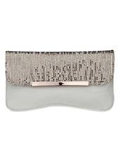 White Faux Leather Sequin Worked Sling Bag - By