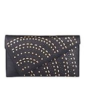 Black Leatherette Ethnic Clutch - By