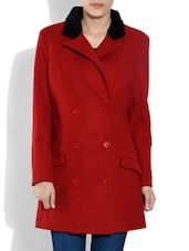 Red Woollen Overlapped Coat - By