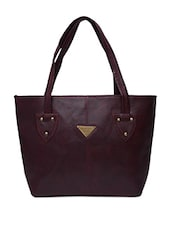 Solid Burgundy Faux Leather Handbag - By