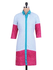 White And Blue Printed Quarter Sleeve Kurti - By