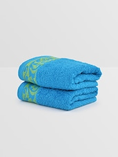 Blue And Green Cotton Hand Towel (Set Of 2) - By