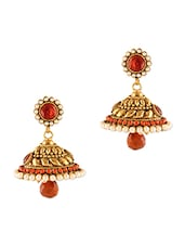 Gold and Orange Faux Pearl Beaded Earrings -  online shopping for Body Jewellery