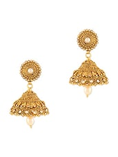 Gold Faux Pearl Beaded Earrings -  online shopping for Body Jewellery