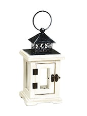Square Mini Lantern With Hinge Door And Glass Panes - By
