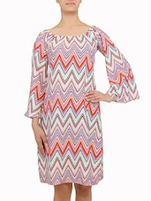 Multicolored Chevron Printed Off-shoulder Dress - By